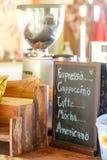List of cafe menu on chalkboard. List of coffee menu on chalkboard espresso, cappuccino, latte, mocha, americano in coffee shop, handmade cafe decoration on Stock Photo