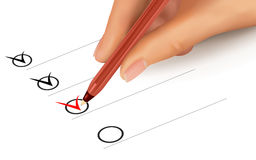 List with checkboxes and hand with pen. Vector. Illustration Royalty Free Stock Photos