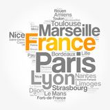 List of cities and towns in FRANCE royalty free stock image