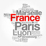 List of cities and towns in FRANCE. Map word cloud collage, business and travel concept background Stock Images