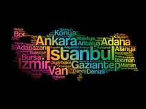 List of cities in Turkey word cloud Stock Photos