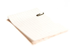 List with clip. Write list with fastener on white ground stock image