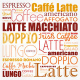 List of coffee drinks words cloud. Collage, poster background Stock Photos
