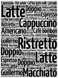 List of coffee drinks words cloud. Poster background Stock Image