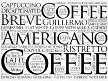 List of coffee drinks words cloud stock images