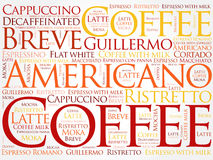 List of coffee drinks words cloud. Poster background Stock Images