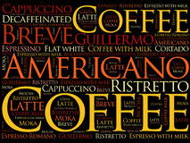 List of coffee drinks words cloud. Poster background Stock Photo