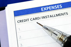 List the credit card installments Stock Images