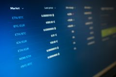 List of cryptocurrency quotes on the computer screen. Cryptocurrency exchanges royalty free stock image