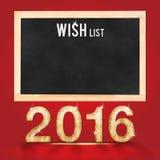 List d'envie por 2016 años en la pizarra en backgro rojo del sitio del estudio Foto de archivo libre de regalías