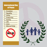 List Day of Peace. The list to the International Day of Peace. Vector illustration vector illustration