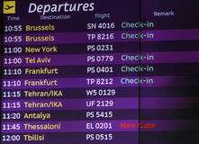 List of departures. In airport Stock Images