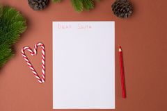 List dla Santa pojęcia bożych narodzeń pojęcia nowy rok Dzieciństwo zdjęcia royalty free