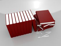 List of handbooks. In red covers rendered in Blender Royalty Free Stock Photo
