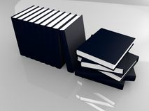 List of handbooks. In navy blue covers rendered in Blender Royalty Free Stock Images