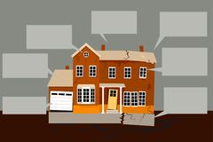 List of home repairs. Exterior of a house in need of multiple repairs with empty text bubbles on the background, EPS 8 vector illustration Royalty Free Stock Image