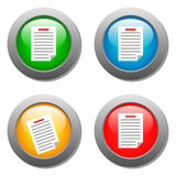 List icon on set of glass buttons Royalty Free Stock Images