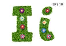List Ii z teksturą trawa i kwiaty ilustracji