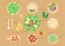 List of ingredients for cooking salad cut. List of ingredients for salad preparation. Cut vegetables in order to cook. Simple recipe. There are Cutlery royalty free illustration