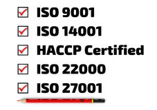 List of ISO standards. Iso 9001; iso 14001; haccp; iso 22000; iso 27001. Red pencil and a checklist with red marks royalty free illustration