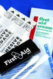 List of items in a First Aid Kit Stock Image
