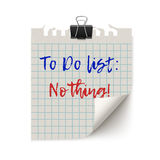 List items on torn white paper. To do list items on torn white squared paper wit curved corner and paper clip, Realistic vector illustration isoletd on white Stock Photo