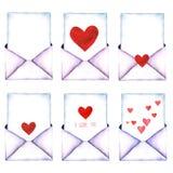 List miłosny w kopercie malował w akwareli na białym tle odizolowywającym Koperta z sercem Walentynki ` s dzień, dobroczynność, L Obraz Stock