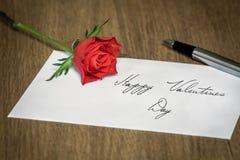 List Miłosny z różą Zdjęcie Stock