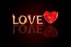 List miłosny z sercem w ogieniu Walentynki s dzień ilustracja wektor