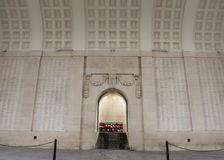 List of MIA soldiers on walls of Menin Gate in Ypres, Belgium. Royalty Free Stock Photos