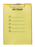 List of my plan on paper with clipboard Royalty Free Stock Images