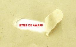 LIST nagroda Zdjęcie Royalty Free