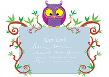 List owl. Beautiful frame of twigs with an owl a piece of paper with text Royalty Free Stock Images