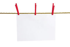 List of paper on a gold rope Royalty Free Stock Image