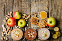 List peanut butter smoothie with chocolate, apples, banana and o Royalty Free Stock Images