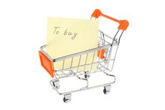 List of purchases in shopping cart isolated Royalty Free Stock Photos