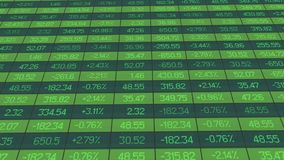 List of realtime quotes and prices data, figures dropped on stock market board stock illustration
