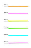 List for six colored notes. Prepared for the text Stock Photos