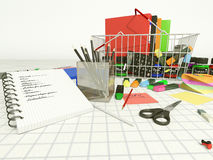 List of stationery for school Stock Image