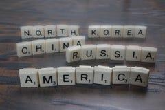 List tafluje America Russia chiny północny Korea zdjęcie stock