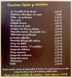 List of tapas in a bar in Barcelona Stock Images