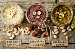 List toasted nut butters, pistachio, hazelnut and cashew Stock Images