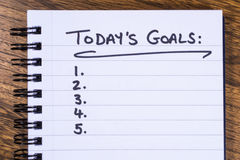 List of Todays Goals. A list of goals to be achieved today stock photo