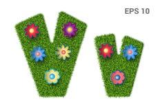 List Vv z teksturą trawa i kwiaty ilustracji