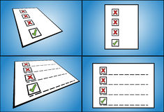 List of wrong check box options followed by a right check box option written on paper - perspective view Royalty Free Stock Photography