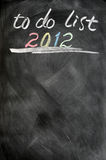 lista 2012 de lío Fotografía de archivo libre de regalías