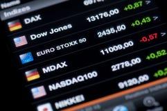 Lista av aktiemarknadindex Arkivfoto