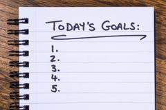 Lista av dagens mål arkivfoto