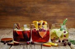 Lista av sangria med rött, rosa och vitt vin royaltyfri bild