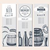 Lista d'annata della birra per la barra o la fabbrica di birra Menu del pub Bandiere impostate Inchiostro assorbito Immagini Stock Libere da Diritti